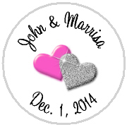 Kisses Wedding - KISS WD_16 - Solid Double Hearts - your color choice!