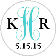 Hershey Kisses Wedding - Monogram Initials - Choose Your Color!