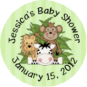 Hershey Kisses Baby Shower - KISS BS28-Jungle Animals Hershey Kisses Labels Stickers, Personalized Baby Shower Hershey Kisses, Baby Shower, Baby, Jungle Animals, Monkey, Lion, Zebra