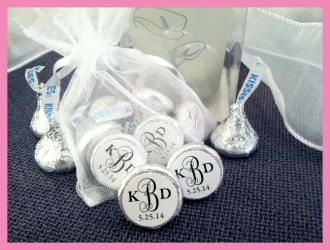 Personalized Wedding Hershey Kisses Stickers
