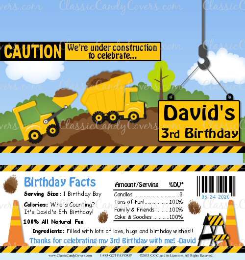 Personalized Construction Trucks Fun Candy Bar Wrappers
