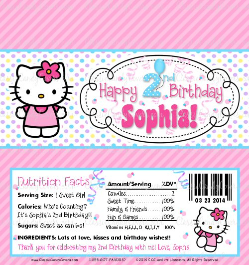 d1548e043 Personalized Hello Kitty Themed Candy Bar Wrappers