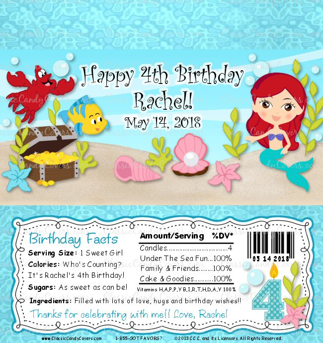 Personalized Little Mermaid Ariel Inspired Candy Bar Wrappers